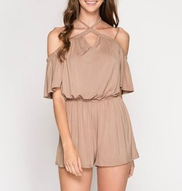 She & Sky Cold Shoulder Romper with Halter Strap