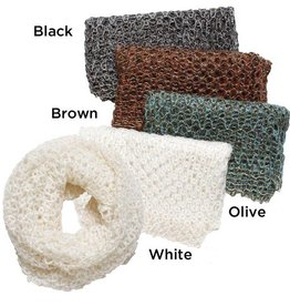 David & Young Open Knit Infinity Scarf with Lurex Detail