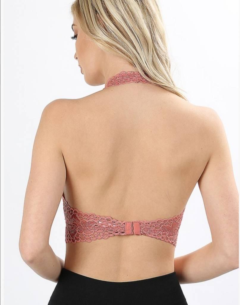 Zenana Lace Halter Stretch Bralette With Lining