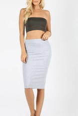 Zenana Cotton Pencil Skirt