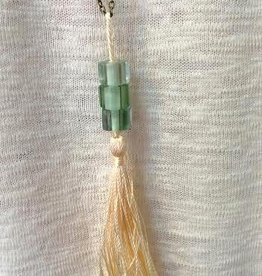 Square Bead Tassel Necklace