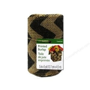 "Floracraft . FLC BURLAP RIBBON 2.5"""" CHEVRON BLK"