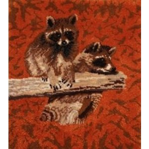 MCG Textiles . MCG CLOWNING RACOONS LATCH HOOK