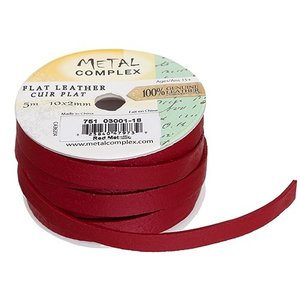 John Bead Corporation . JBC FLAT LEATHER METALLIC RED