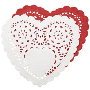 """Wilton Products . WIL 6"""""""" DOILIES HEART RED/WHT"""