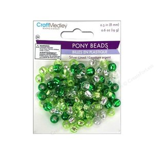 MultiCraft . MCI PONY BEADS 9X6MM GOGRN 19G