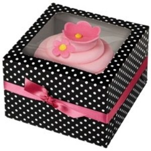 Wilton Products . WIL BLK WHT DOTS CUPCAKE BOX