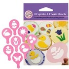 Wilton Products . WIL 8 PC EASTER MINI CUPCAKE  COOKIE STENCIL