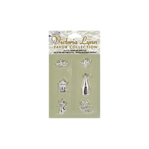 Victoria Lynn Collection . VLC WEDDING WINE CHARMS 6 ASST SILVER