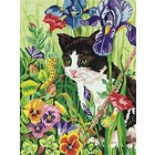"""Dimensions . DMS KITTY IN FLOWERS (9""""X12"""") PBN"""