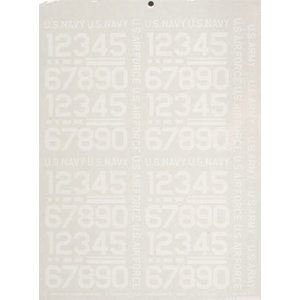 Major Decals . MAJ PRESSURE DECAL NUMBERS WHITE 1