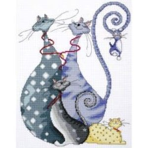 DESIGN WORKS . DEW CAT PACK COUNTED CROSS STITCH KIT