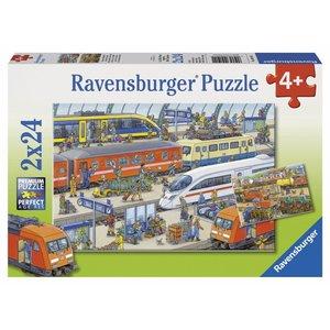 Ravensburger (fx shmidt) . RVB BUSY TRAIN STATION 2X24PC