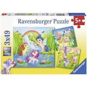 Ravensburger (fx shmidt) . RVB FAIRYLAND PONIES 3X49PC