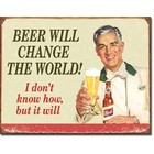 Desperate Enterprises . DPE Beer Will Change The World! I don't know how, but it will - Rectangular Tin Sign