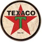 Desperate Enterprises . DPE Texaco 1936 Logo - Round Tin Sign