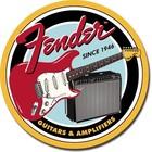 Desperate Enterprises . DPE Fender Guitars & Amplifiers - Round Tin Sign