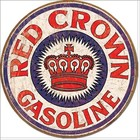 Desperate Enterprises . DPE Red Crown Gasoline - Round Tin Sign