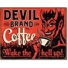 Desperate Enterprises . DPE Devil Brand Coffee.. Tin Sign