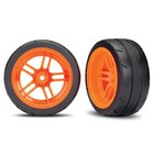 Traxxas Corp . TRA Traxxas Tires And Wheels, Assembled, Glued (Split-Spoke Orange Wheels