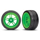 Traxxas Corp . TRA Traxxas Tires And Wheels, Assembled, Glued (Split-Spoke Green Wheels