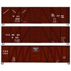 Accurail . ACU HO Kit 40' Wood Box, Wag/Ftddm&S/C&S (3)