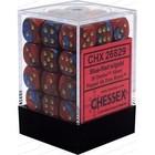 Chessex . CHX Gemini: 36D6 Blue-Red / Gold Dice