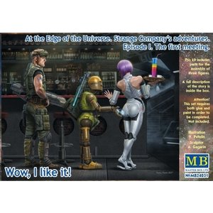 Masterbox Models . MTB 1/24 At the Edge of the Universe: Space Mercenary w/ Heavy Gun, Robot & Android Waitress