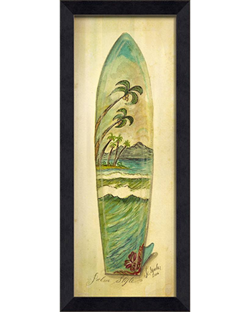 Palm Style Surfboard Framed Print - Island Style - Wall Art - Squan ...