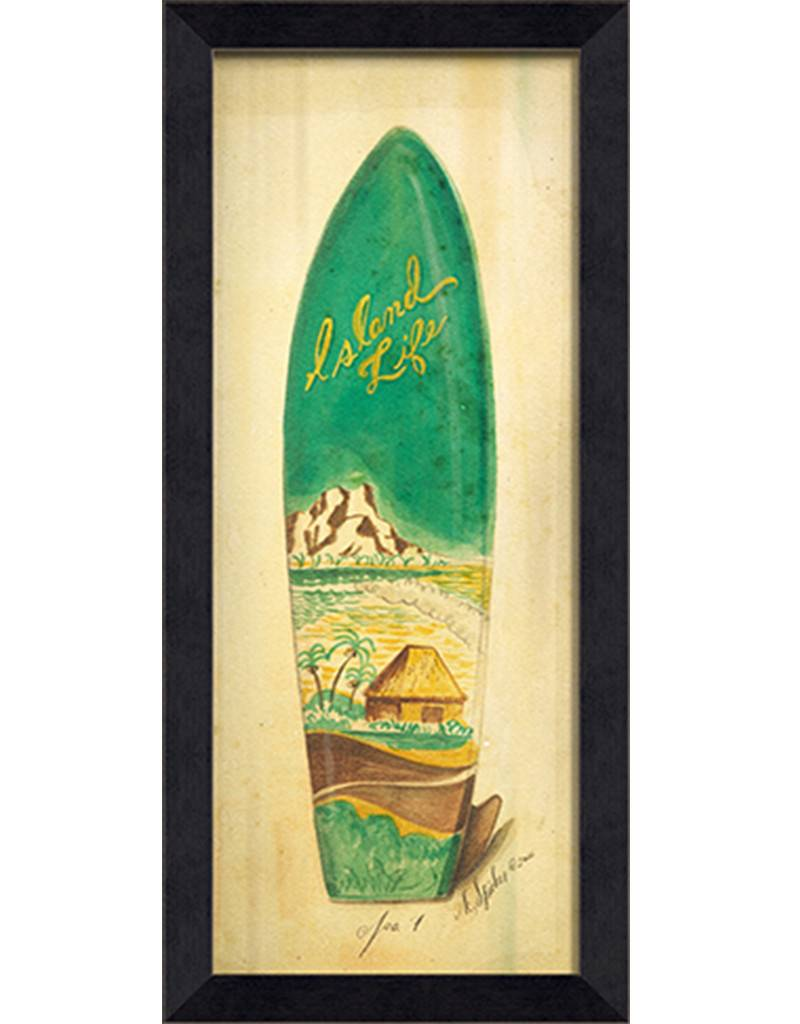 Island Life Surfboard Framed Print - Island Style - Wall Art - Squan ...