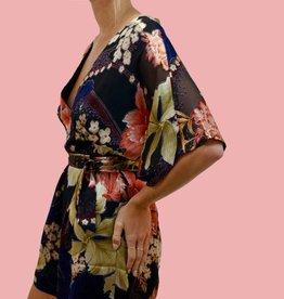 HUTCH Elliot Kimono Sleeve Wrap Front Floral Burnout Romper