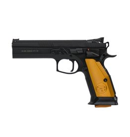 CZ CZ  TS Orange Semi-Auto Pistol, 9MM, 5'' Bbl Black Steel Frame, Orange Aluminum Grip, 10 Rnd, SA, Adj Sights, Manual Safety