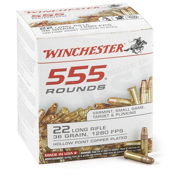 WINCHESTER Winchester Rimfire Ammo 22 LR, CPHP, 36 Grains, 1280 fps 555 Rounds, Boxed