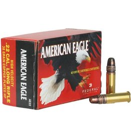 Federal Federal AE 22lr American Eagle Rimfire Rifle Ammo 22 LR, Copper Plated HP 38 Grains, 1260 fps, 400 Rounds, Boxed
