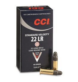 CCI CCI  .22lr Standard Velocity Rimfire Ammo 22 LR, LRN, 40 Grains, 1070 fps, 50 Rounds, Boxed single