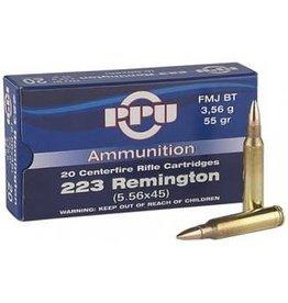 PPU PPU 223rem  Rifle Ammo,FMJBT,20rd/Box 223Rem55Gr single