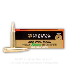 Federal 20 Rounds Federal Premium® Gold Medal® .300 Win. Mag. 190 - Grain MKS BTHP Ammo