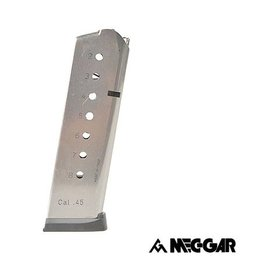 Mec-Gar Meg-Gar 1911 with Plastic Removable Puttplate and Follower .45ACP 8 High Cap Nickel
