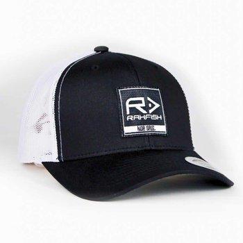 RAHFISH RAHFISH BIG R 2×2 TRUCKER HAT – BLACK / WHITE