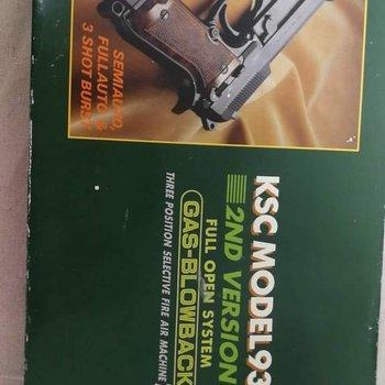 airsoft/airgun KSC model 93R 2nd version (no pal needed) orginal box 1 bottle gas 1 bag BB