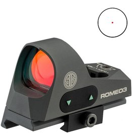 Sig Sauer Romeo 3 Reflex sight 1x25mm, 3 moa red dot 1.0 MOA adjust M1913 with riser, Graphite
