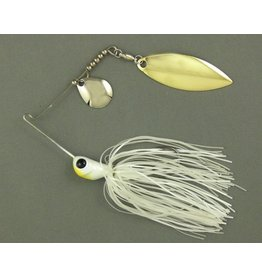 Ultra Tungsten T-Blade Tungsten Spinnerbait - Pearly White Double Willow Silver 1/2 oz