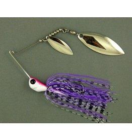 Ultra Tungsten T-Blade Tungsten Spinnerbait - Purple Tiger Double Willow Silver 5/8 oz