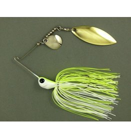 Ultra Tungsten T-Blade Tungsten Spinnerbait - White Chartreuse Double Willow Silver 1/2 oz
