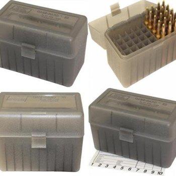MTM Large Rifle FlipTop Ammo Box, Clear Smoke 50Rds Box