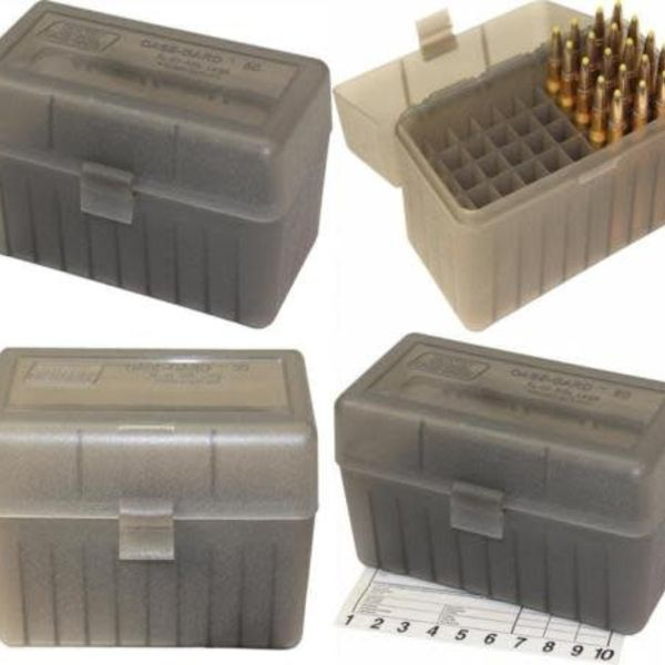 MTM Large Rifle FlipTop Ammo Box, Clear Smoke 50Rds Box