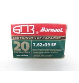 Barnaul Ammo 7.62x39mm Barnaul SP 125 Grain 20 Round Box Steel Case non-corrosive