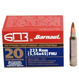 Barnaul Barnaul Ammunition, .223 Rem, 62GR, FMJ Zinc Plated Steel Case - Box of 20