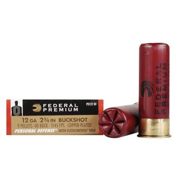 "Federal Federal Personal Defense 12 Gauge Ammunition 5 Rounds 2.75"" 9 Pellets 00 Buck 1,145 Feet Per Second"