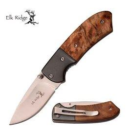 Elk Ridge Elk Ridge Folding Knife 3.5'' - Maple Burl Wood Handle
